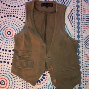 Olive green guess button down vest